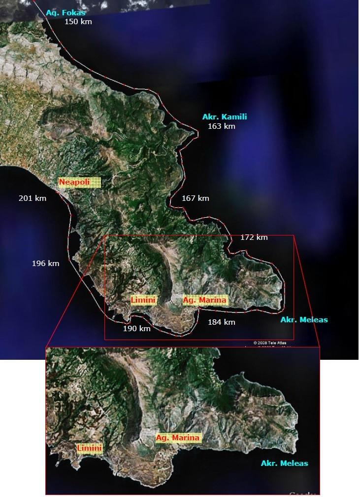 Strækningen rundt om Cape Meleas med afstande fra Tolo