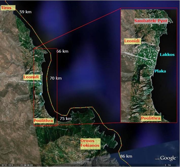 Strækningen fra Tiros til Ormios Fokianos med afstande fra Tolo