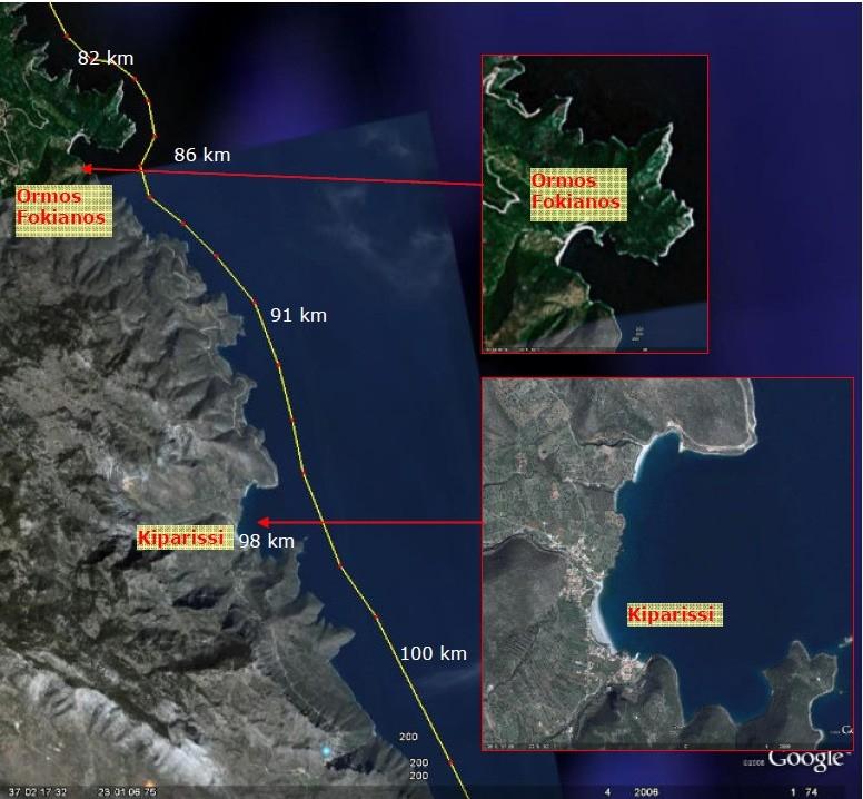 Strækningen omkring Ormos Fokianos og Kiparissi med afstande fra Tolo