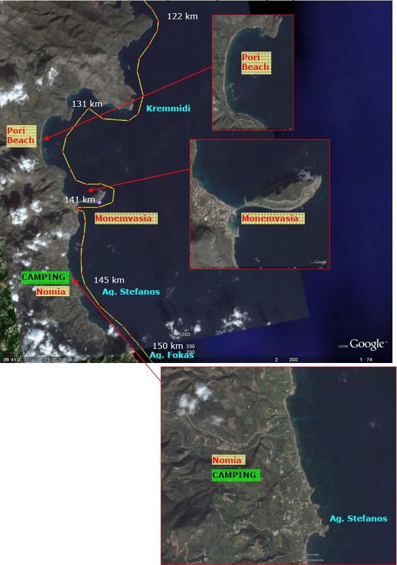 Strækningen omkring Pori Beach og Nomia med afstande fra Tolo