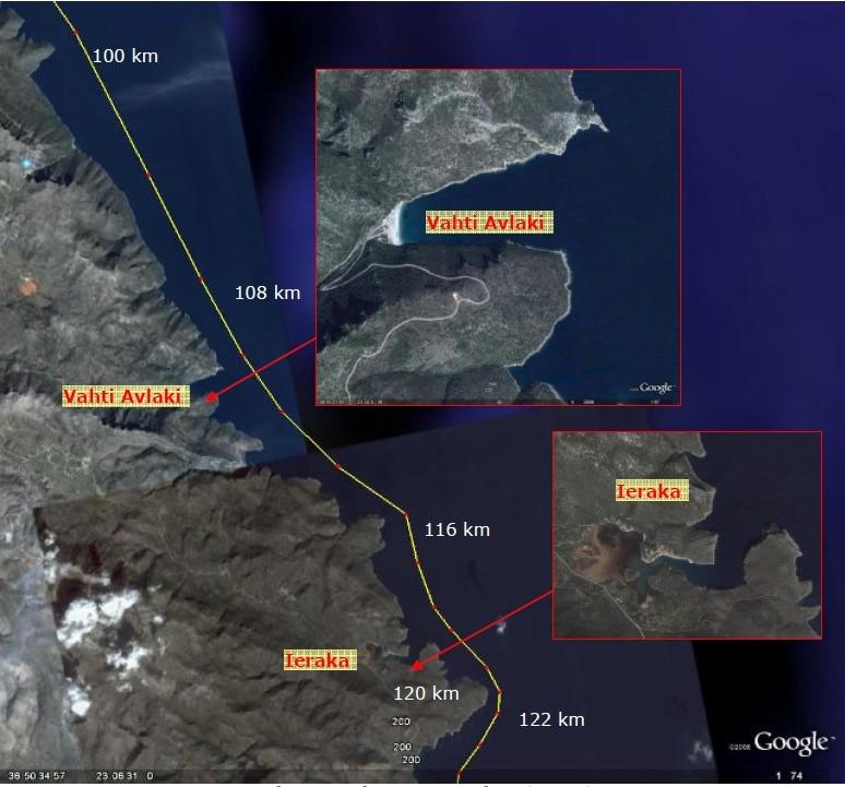 Strækningen omkring Vathi Avlaki med afstande fra Tolo