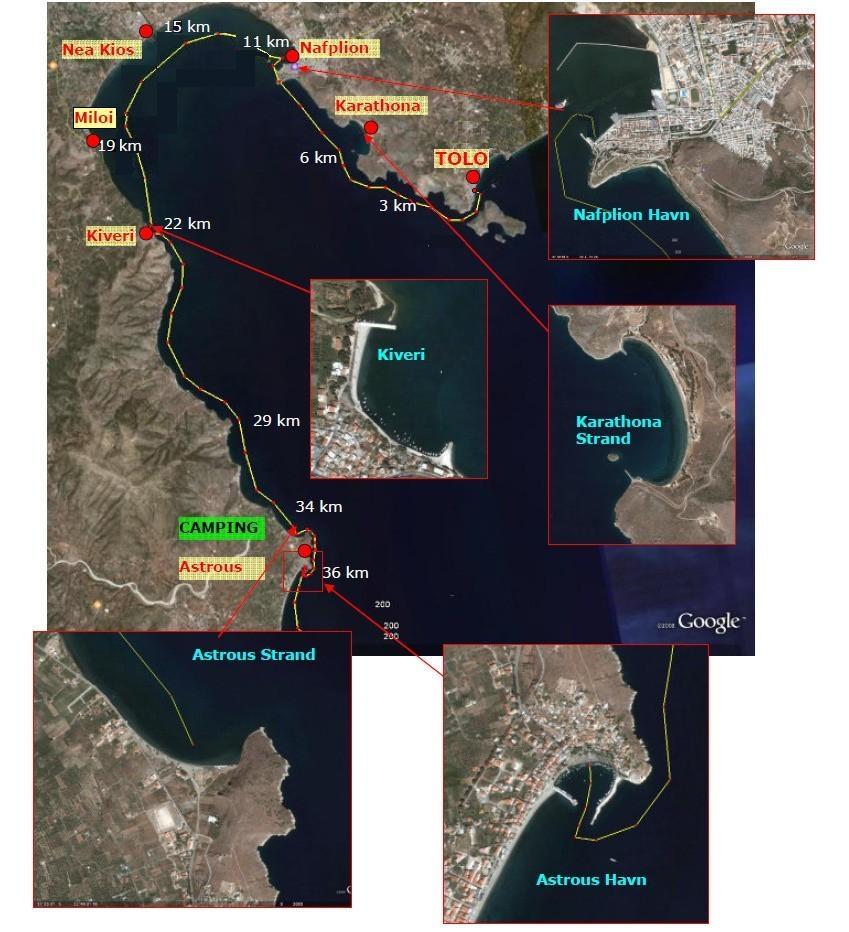 Byer og afstande mellem Tolo og Astrous