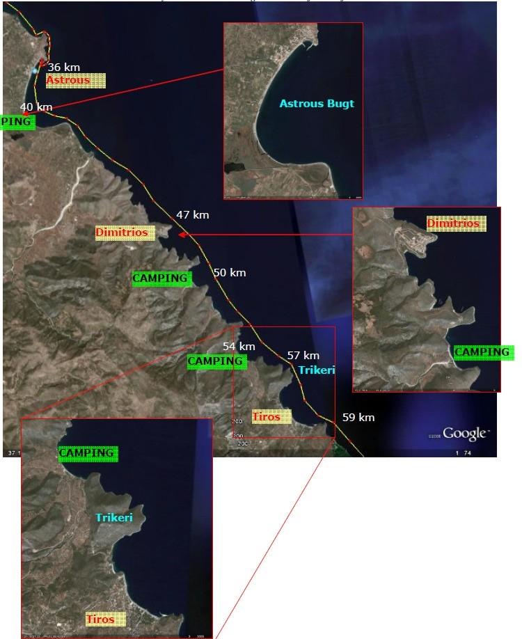 Byer mellem Astrous og Tiros med afstande fra Tolo
