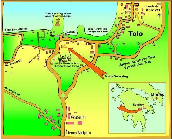 Turistkort over Tolo (bemærk at nord vender nedad)