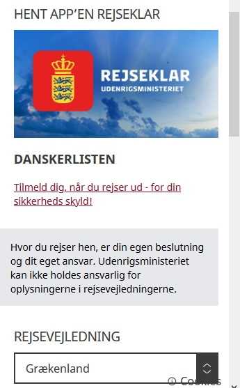 """App """"Rejseklar"""" fra Udenrigsministeriet."""