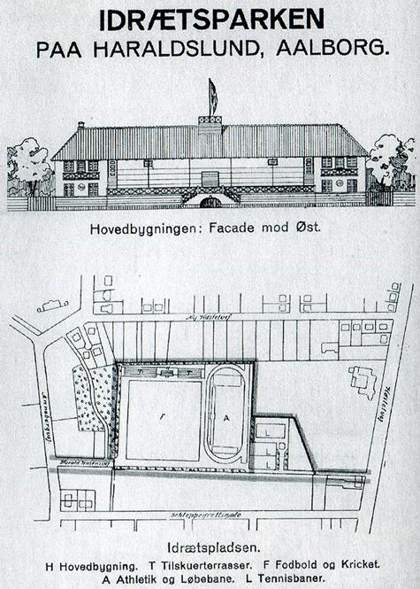 Oversigt over Idrætsparken Haraldslund, med to tennisbaner